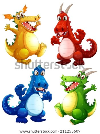 Illustration of a set of dragons - stock vector