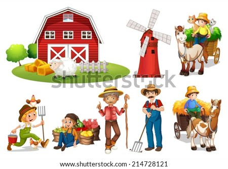 Illustration of a set of farmers and a barn - stock vector
