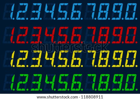 Illustration of a set of numbers of different color LED - stock vector