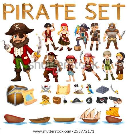 Illustration of a set of pirate and sails - stock vector
