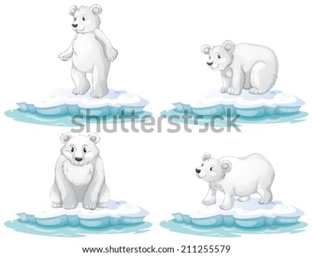 Illustration of  a set of polar bear - stock vector