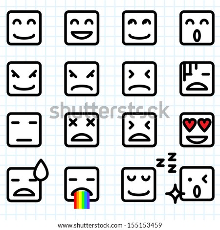 Illustration of a set of square face emoticon icon - stock vector