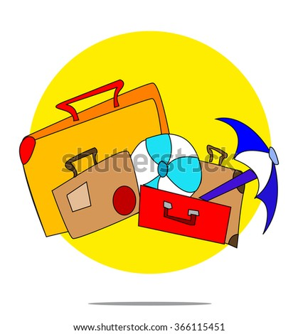 Illustration of a set of suitcases with yellow circle background - stock vector