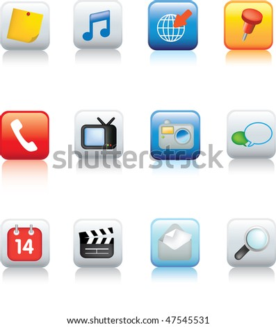 Illustration of a Set of typical mobile phone icons