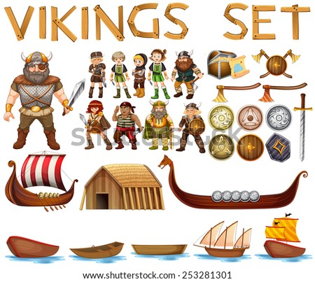 Illustration of a set of vikings - stock vector
