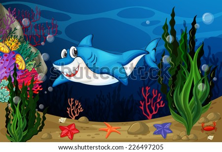 illustration of a shark swimming in the sea - stock vector