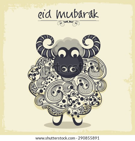 Illustration of a sheep for Muslim community festival, Eid Mubarak celebration. - stock vector