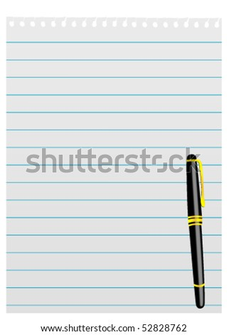 Illustration of a sheet of paper and fountain pen