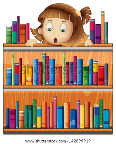 Illustration of a shocked face of a girl at the back of a wooden shelves with books on a white background - stock vector