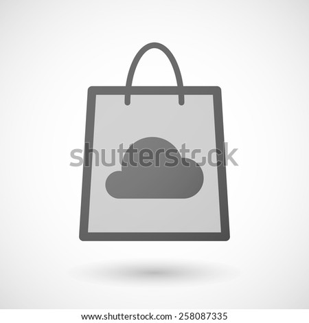Illustration of a shopping bag icon with a cloud - stock vector