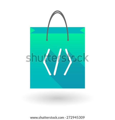 Illustration of a shopping bag icon with a code sign - stock vector