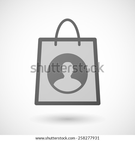Illustration of a shopping bag icon with a male avatar - stock vector