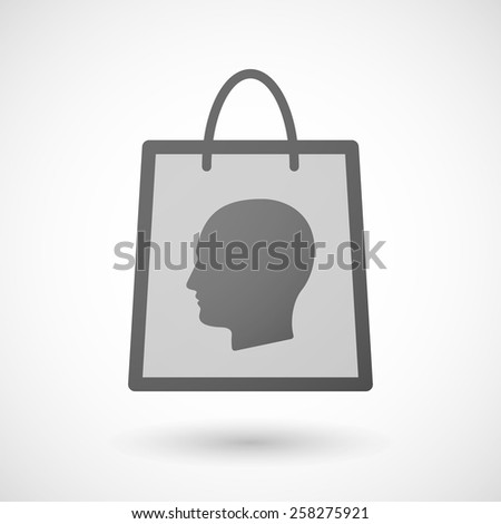 Illustration of a shopping bag icon with a male head - stock vector