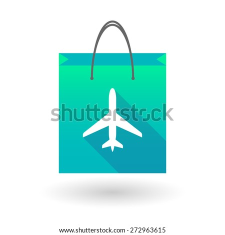 Illustration of a shopping bag icon with a plane - stock vector