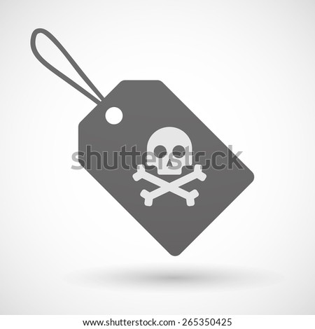 Illustration of a shopping label icon with a skull - stock vector
