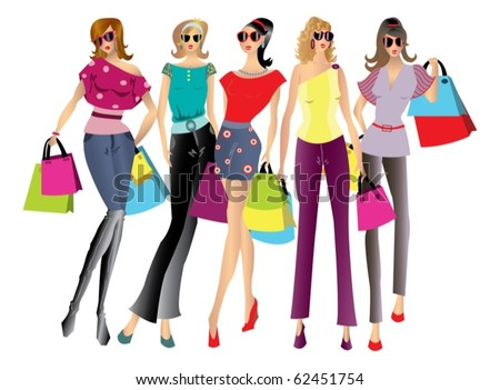 Illustration of a shopping women with bags - isolated over white - stock vector
