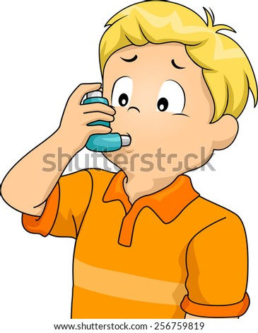 Illustration of a Sickly Boy Using an Inhaler - stock vector