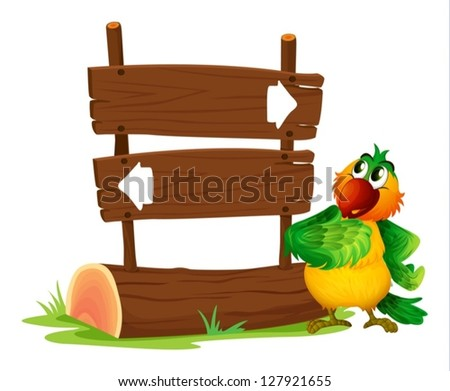 Illustration of a sign board and a bird on a white background