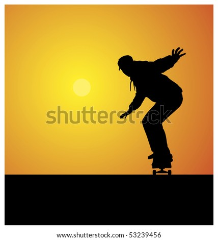 Illustration of a silhouette of a teenager. He rides on a skateboard. In the background the sun shines brightly. - stock vector