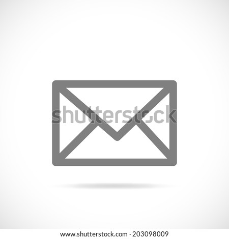 Illustration of a silhouette of an email symbol isolated on a white background. - stock vector
