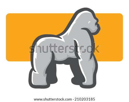 Illustration of a silverback Gorilla in Side View/Gorilla Mascot Side View - stock vector