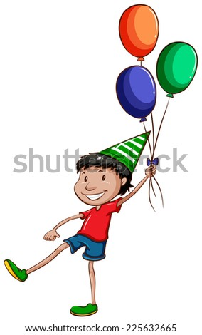 Illustration of a simple drawing of a happy young boy with balloons on a white background  - stock vector