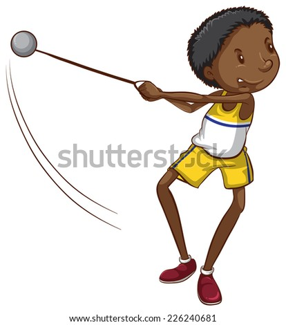 Illustration of a simple drawing of a young boy throwing a ball on a white background