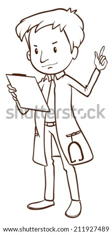 Illustration of a simple sketch of a doctor on a white background - stock vector