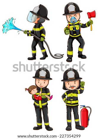 Illustration of a simple sketch of firemen on a white background  - stock vector