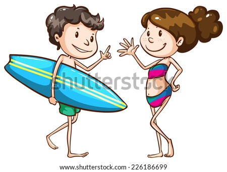Illustration of a simple sketch of two people going to the beach on a white background  - stock vector