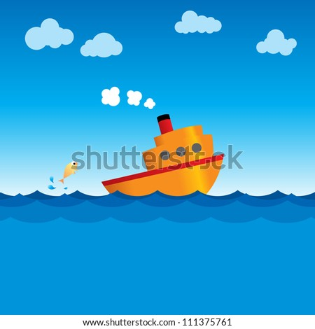 Illustration of a simple vector ship steaming through the ocean.