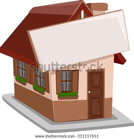 Illustration of a Single Detached House with a Sign Attached to It - stock vector