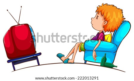 Illustration of a sketch of a lazy boy watching TV on a white background  - stock vector