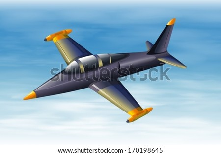 Illustration of a sky with a fighter jet - stock vector