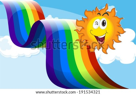 Illustration of a sky with a rainbow and a happy sun - stock vector