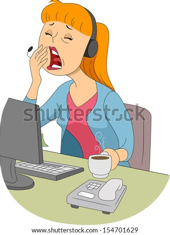 Illustration of a Sleepy Girl Trying to Cover Her Mouth ... Yawning Girl Cartoon