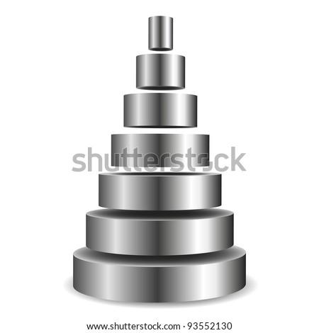 illustration of a sliced metallic cylinder pyramid - stock vector