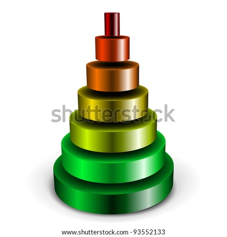 illustration of a sliced metallic cylinder pyramid filled with different colors - stock vector