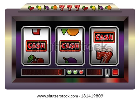 Illustration of a slot machine with three reels, slot machine symbols and the lettering CASH.