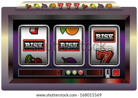 Illustration of a slot machine with three reels, slot machine symbols and the lettering RISK. Isolated vector on white background. - stock vector