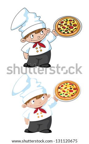 illustration of a small cook with pizza - stock vector
