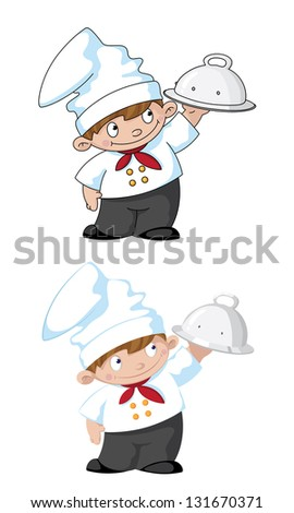 illustration of a small cook with tray - stock vector