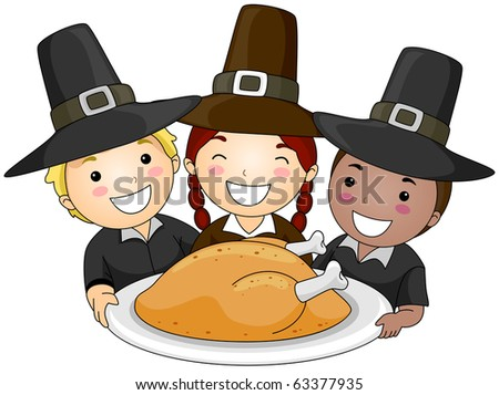 Illustration of a Small Group of Children Wearing Pilgrim's Clothes Holding a Platter of Turkey - stock vector