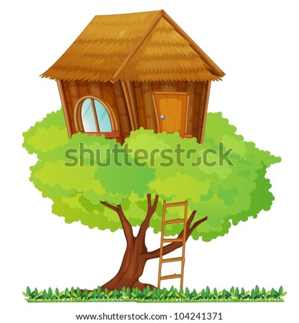 Illustration of a small tree house - stock vector