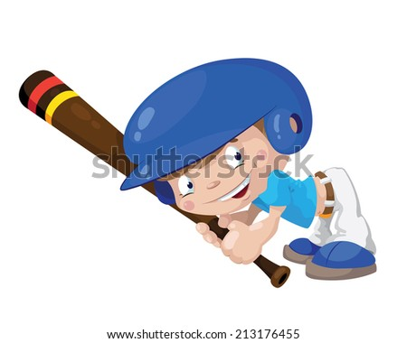 illustration of a smile baseball boy - stock vector