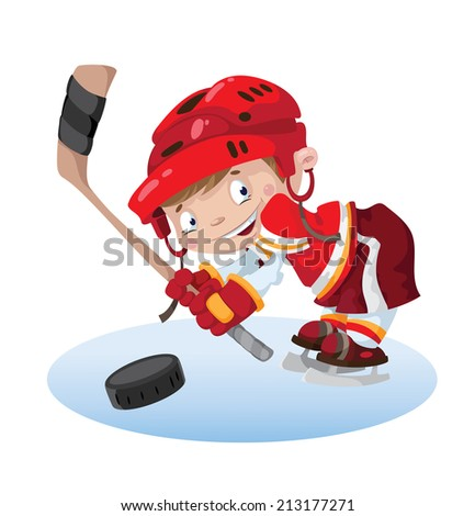illustration of a smile boy hockey - stock vector