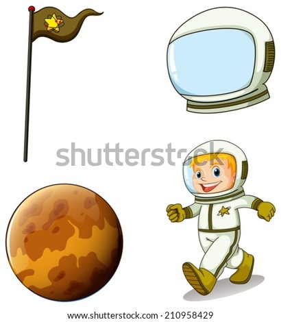 Illustration of a smiling astronaut on a white background
