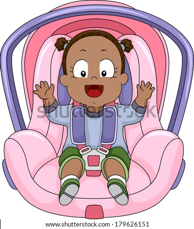 Illustration of a Smiling Baby Girl Strapped to a Car Seat - stock vector