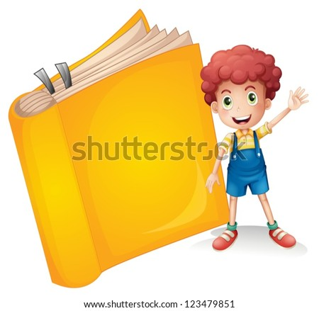Illustration of a smiling boy and a yellow book on a white background - stock vector