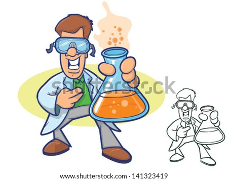 Illustration of a smiling chemist wearing a lab coat and holding a beaker full of bubbly liquid/Vector Scientist Cartoon - stock vector